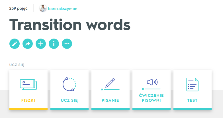 Naucz się transition words po polsku z użyciem fiszek